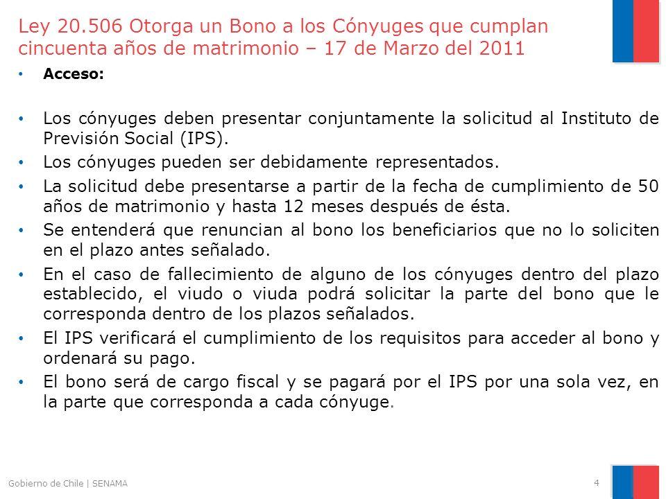 Ley 20.506 Otorga un Bono a los Cónyuges que cumplan cincuenta años de matrimonio – 17 de Marzo del 2011