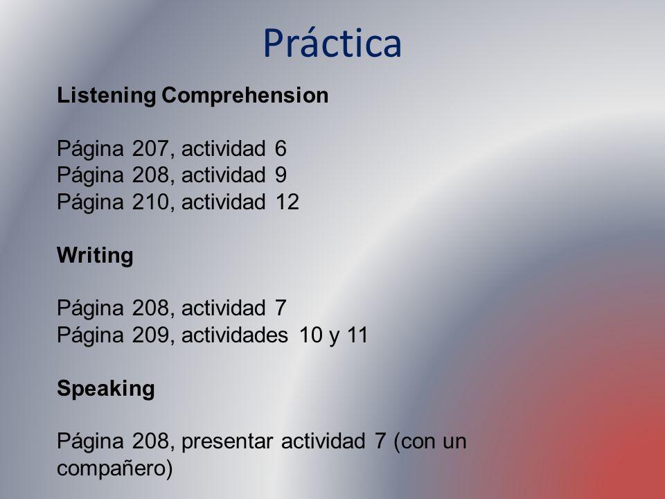 Práctica Listening Comprehension Página 207, actividad 6