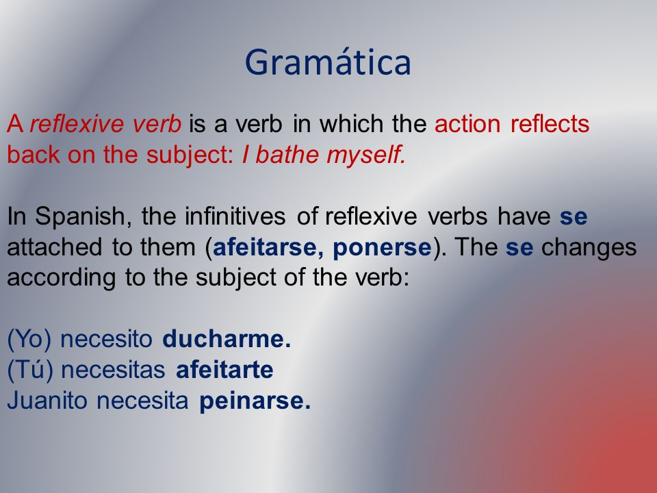 Gramática A reflexive verb is a verb in which the action reflects back on the subject: I bathe myself.