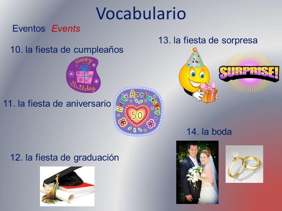 Vocabulario Eventos Events 13. la fiesta de sorpresa