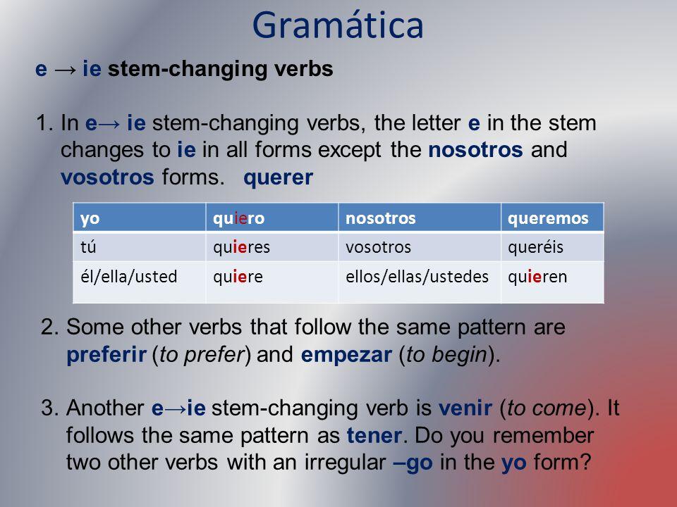 Gramática e → ie stem-changing verbs