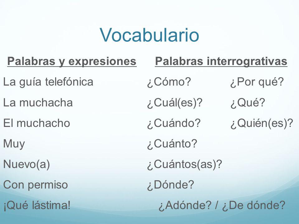Vocabulario Palabras y expresiones La guía telefónica La muchacha El muchacho Muy Nuevo(a) Con permiso ¡Qué lástima!