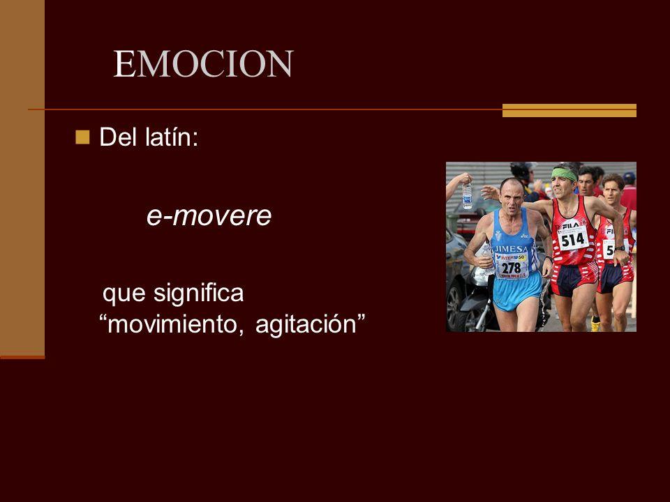 EMOCION Del latín: e-movere que significa movimiento, agitación