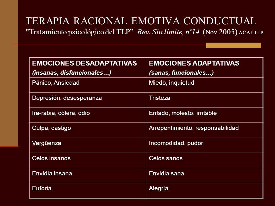 TERAPIA RACIONAL EMOTIVA CONDUCTUAL Tratamiento psicológico del TLP