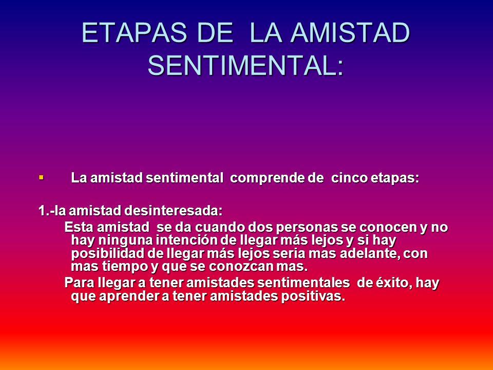 ETAPAS DE LA AMISTAD SENTIMENTAL: