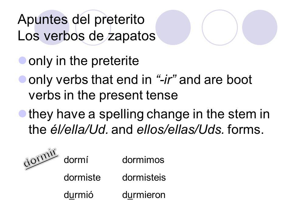 Apuntes del preterito Los verbos de zapatos