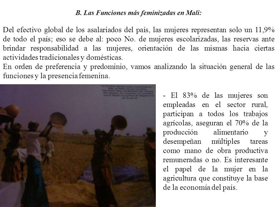 B. Las Funciones más feminizadas en Mali: