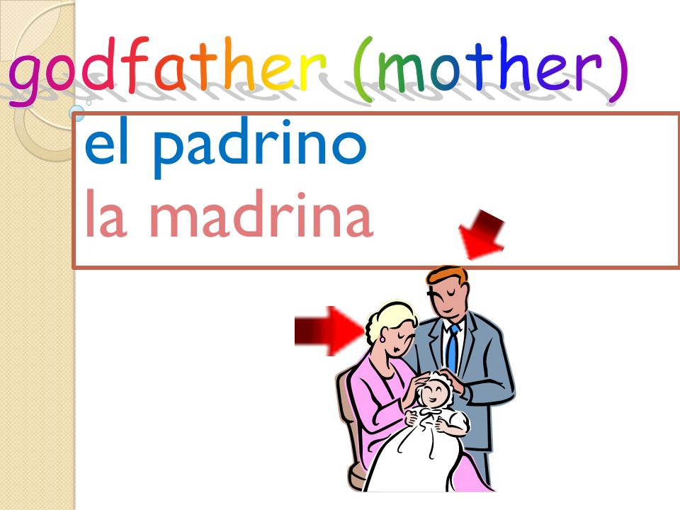 godfather (mother) el padrino la madrina