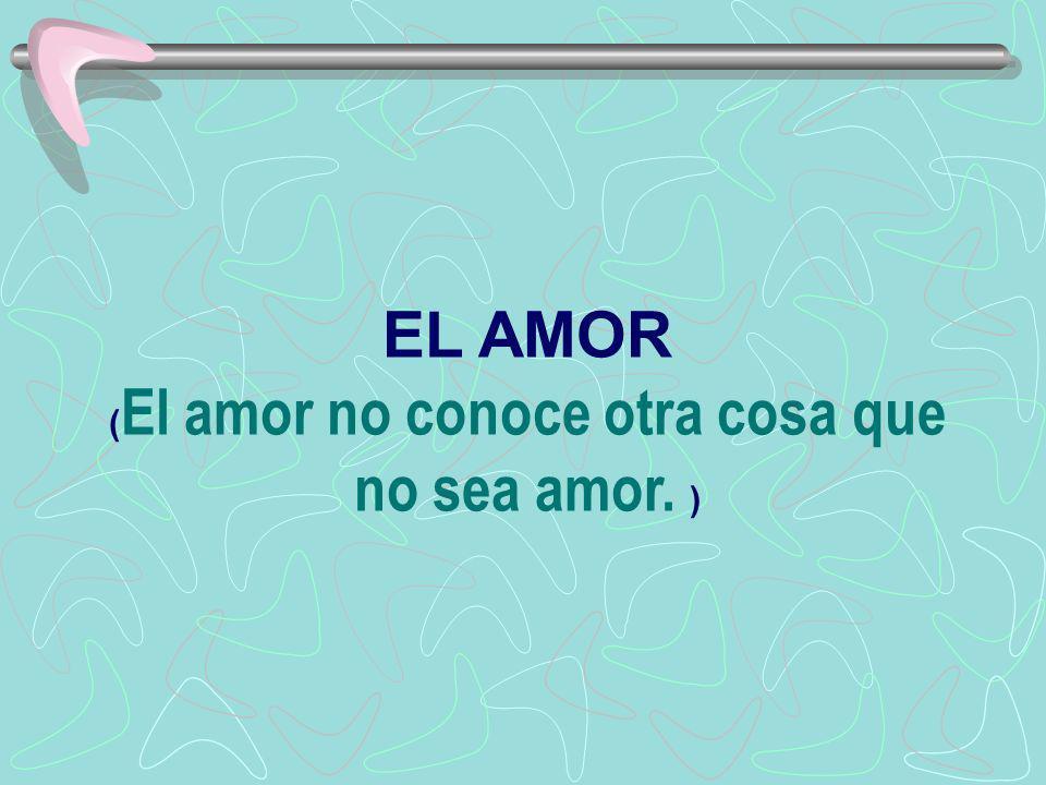 EL AMOR (El amor no conoce otra cosa que no sea amor. )