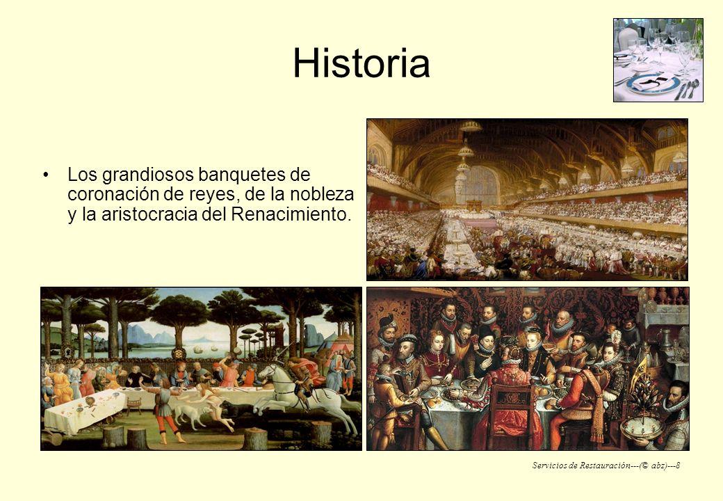 Historia Los grandiosos banquetes de coronación de reyes, de la nobleza y la aristocracia del Renacimiento.