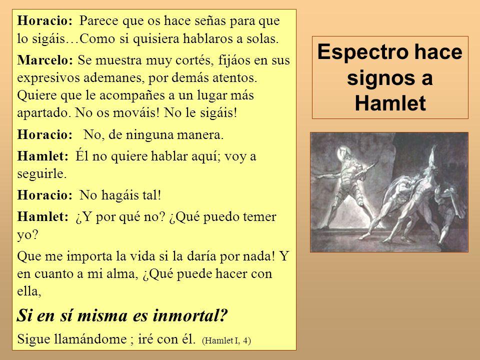 Espectro hace signos a Hamlet