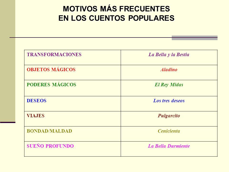 MOTIVOS MÁS FRECUENTES EN LOS CUENTOS POPULARES