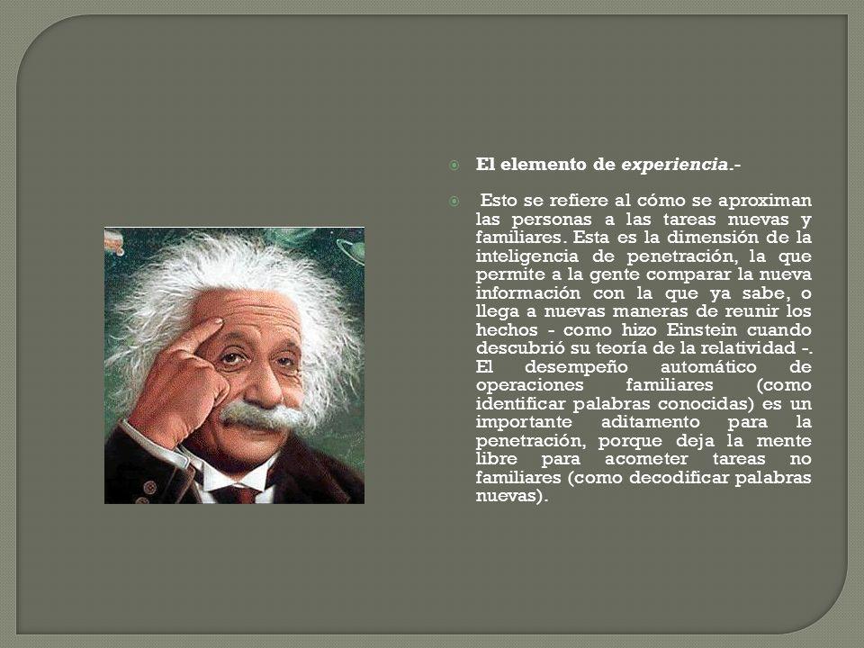 El elemento de experiencia.-