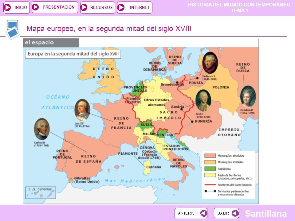 Mapa europeo, en la segunda mitad del siglo XVIII