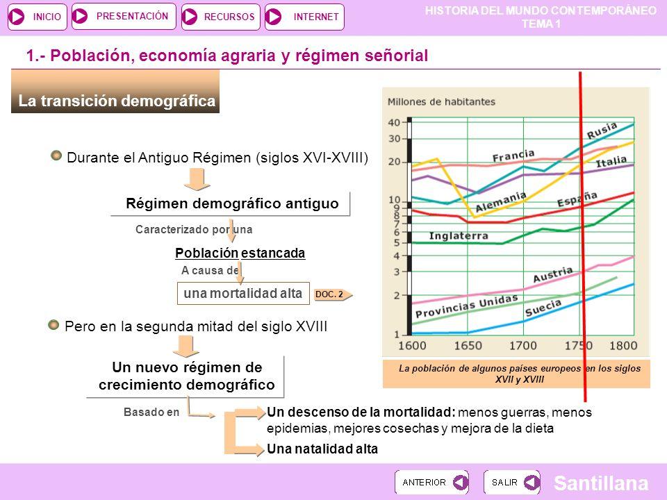 1.- Población, economía agraria y régimen señorial