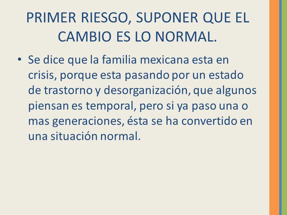 PRIMER RIESGO, SUPONER QUE EL CAMBIO ES LO NORMAL.