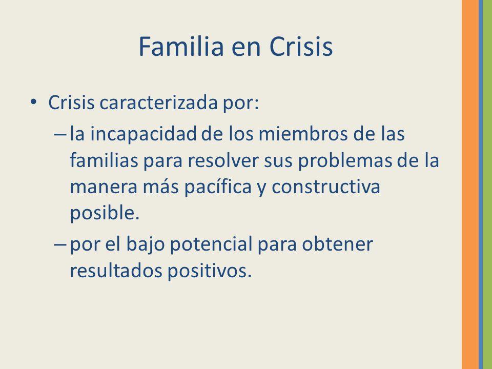 Familia en Crisis Crisis caracterizada por: