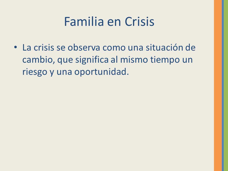 Familia en Crisis La crisis se observa como una situación de cambio, que significa al mismo tiempo un riesgo y una oportunidad.