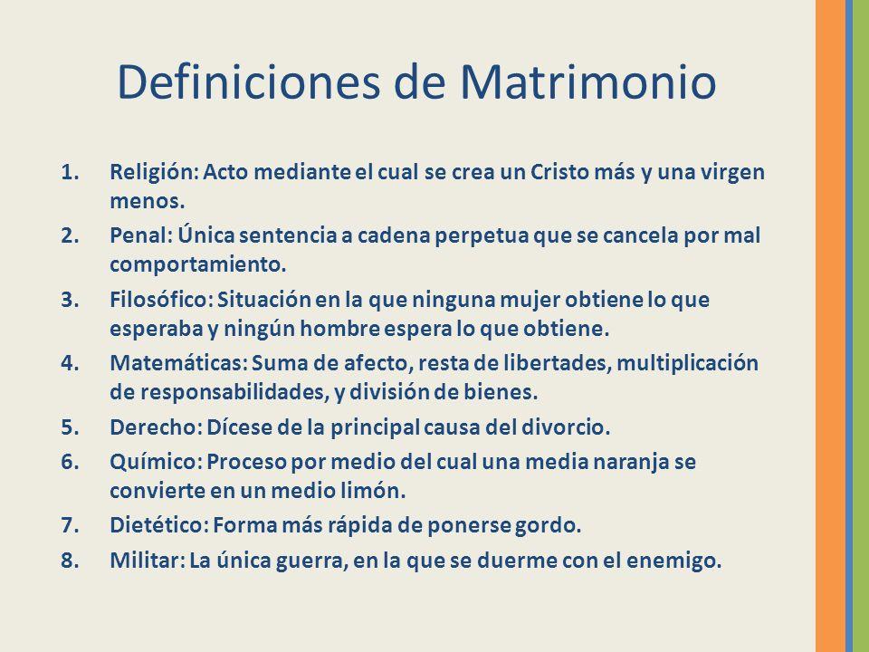Definiciones de Matrimonio