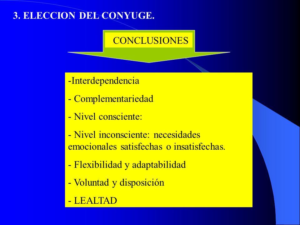 3. ELECCION DEL CONYUGE. CONCLUSIONES. Interdependencia. Complementariedad. Nivel consciente: