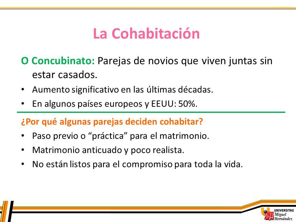 La Cohabitación O Concubinato: Parejas de novios que viven juntas sin estar casados. Aumento significativo en las últimas décadas.