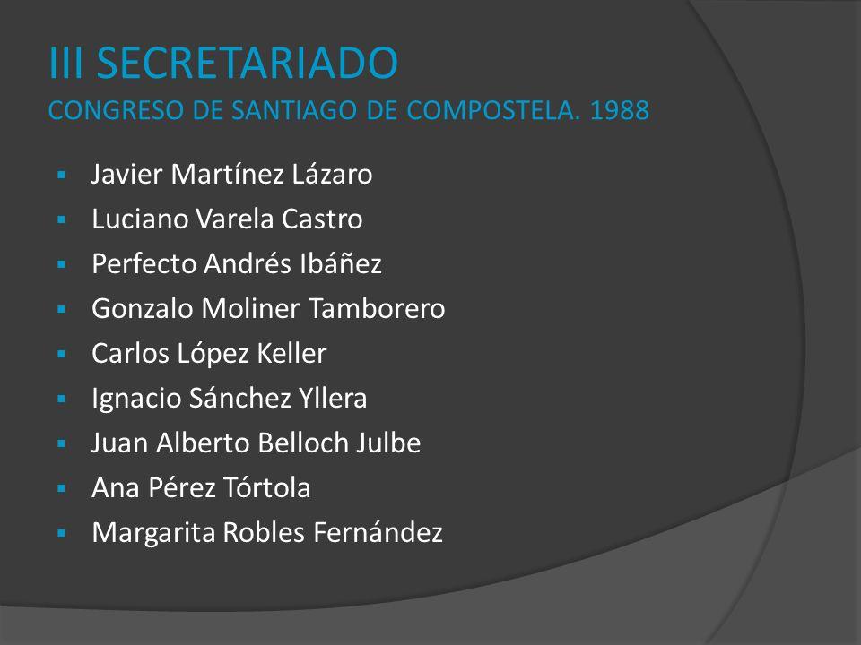 III SECRETARIADO CONGRESO DE SANTIAGO DE COMPOSTELA. 1988