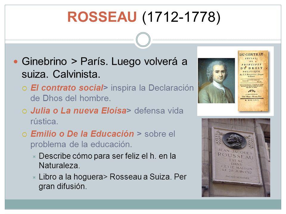 ROSSEAU (1712-1778) Ginebrino > París. Luego volverá a suiza. Calvinista. El contrato social> inspira la Declaración de Dhos del hombre.