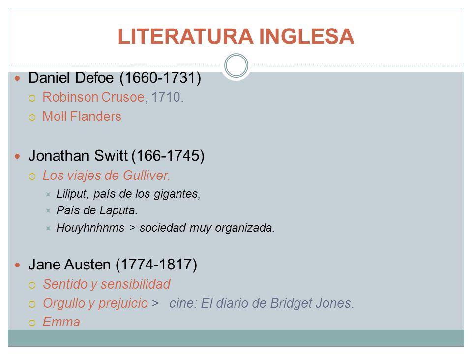 LITERATURA INGLESA Daniel Defoe (1660-1731) Jonathan Switt (166-1745)