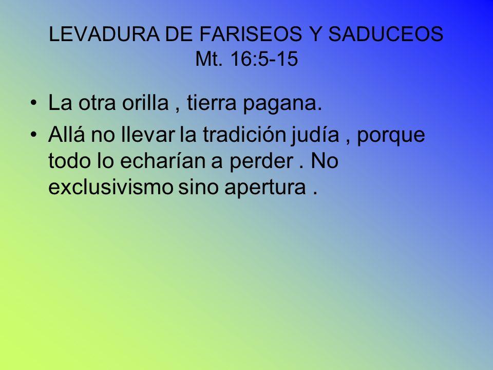 LEVADURA DE FARISEOS Y SADUCEOS Mt. 16:5-15