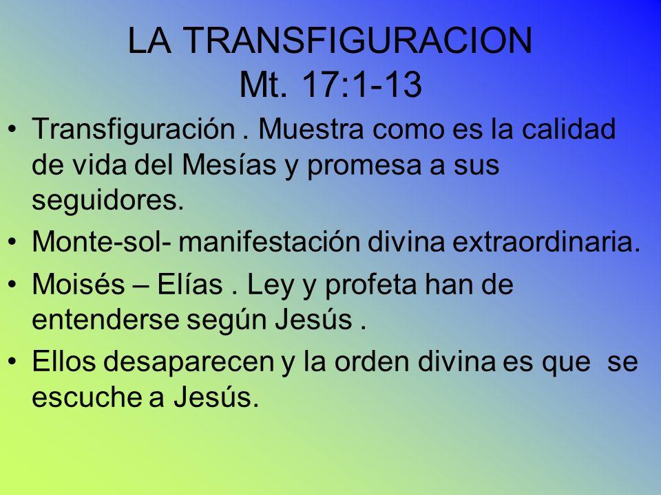 LA TRANSFIGURACION Mt. 17:1-13