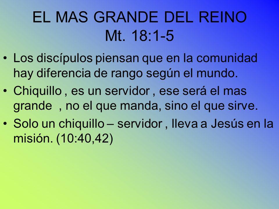 EL MAS GRANDE DEL REINO Mt. 18:1-5