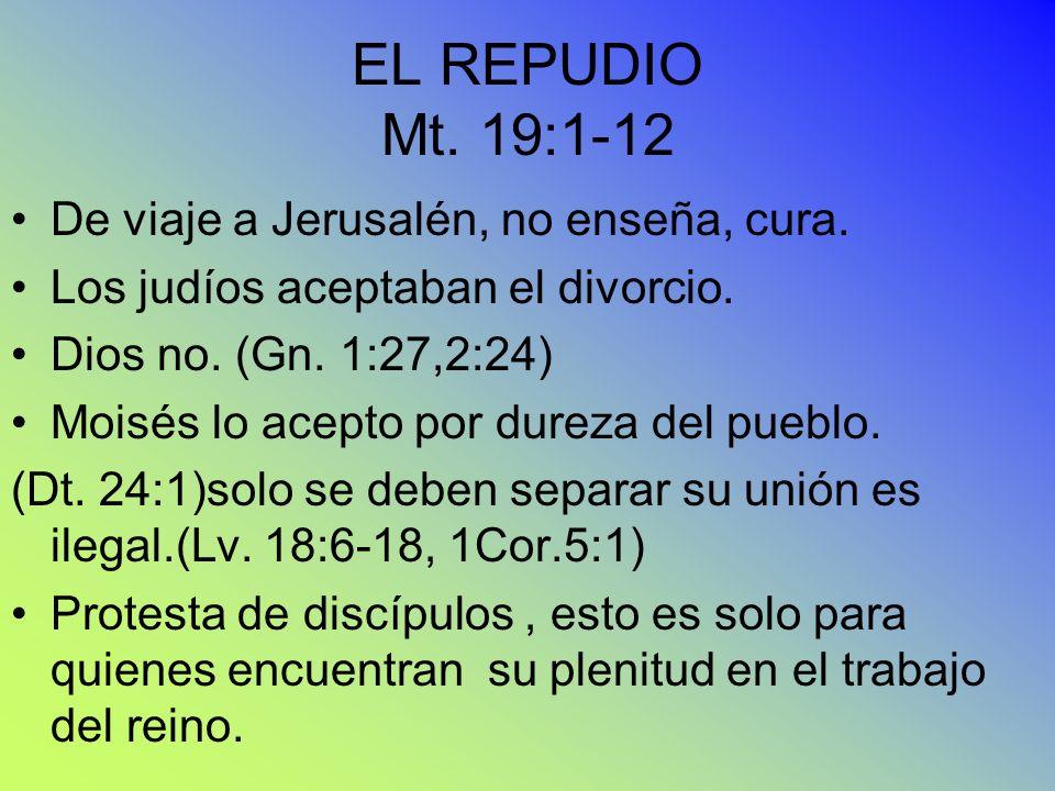 EL REPUDIO Mt. 19:1-12 De viaje a Jerusalén, no enseña, cura.
