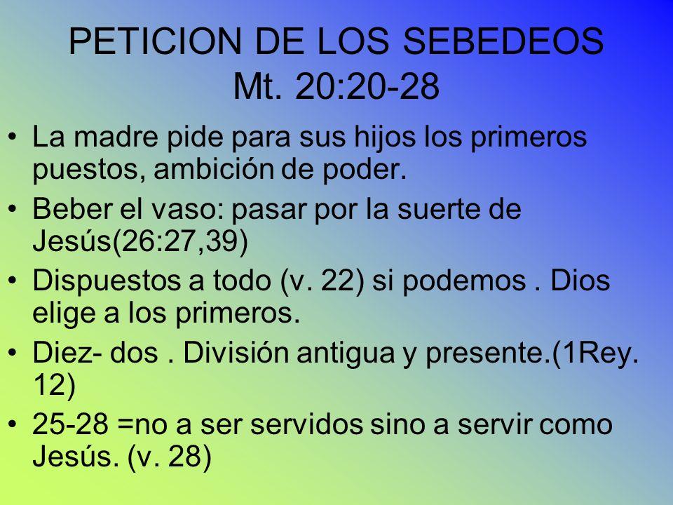 PETICION DE LOS SEBEDEOS Mt. 20:20-28
