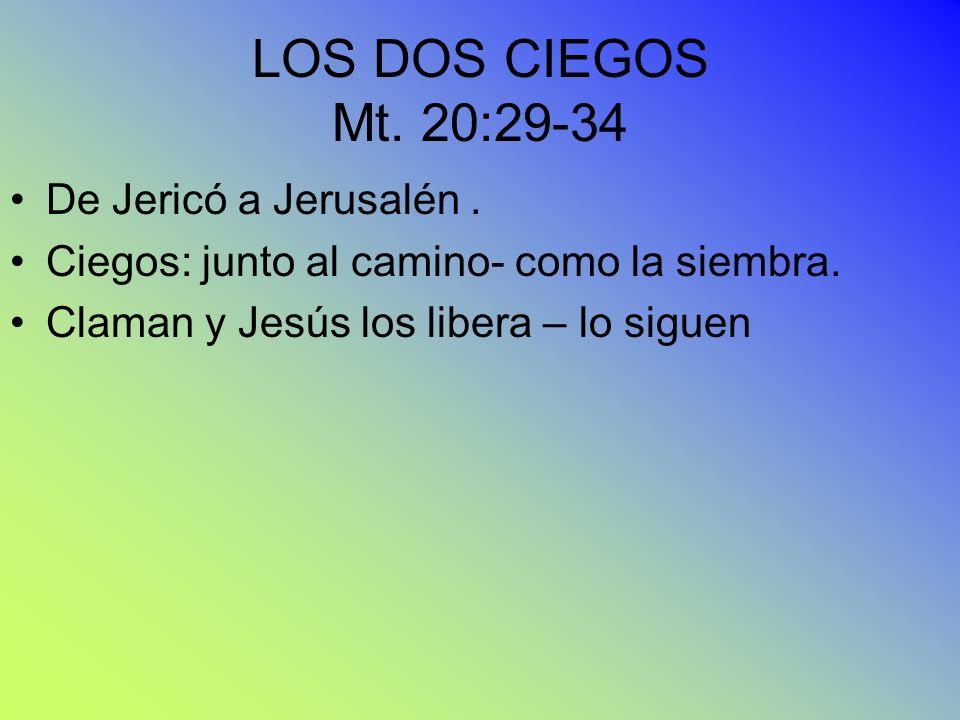 LOS DOS CIEGOS Mt. 20:29-34 De Jericó a Jerusalén .