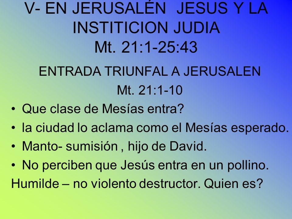 V- EN JERUSALÉN JESUS Y LA INSTITICION JUDIA Mt. 21:1-25:43