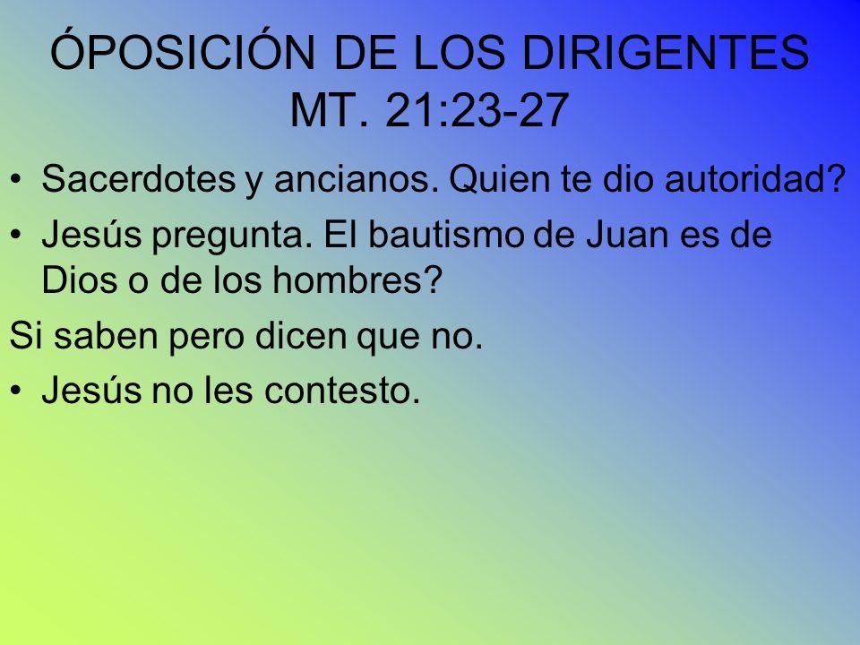 ÓPOSICIÓN DE LOS DIRIGENTES MT. 21:23-27