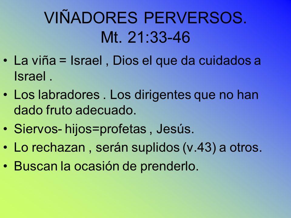 VIÑADORES PERVERSOS. Mt. 21:33-46