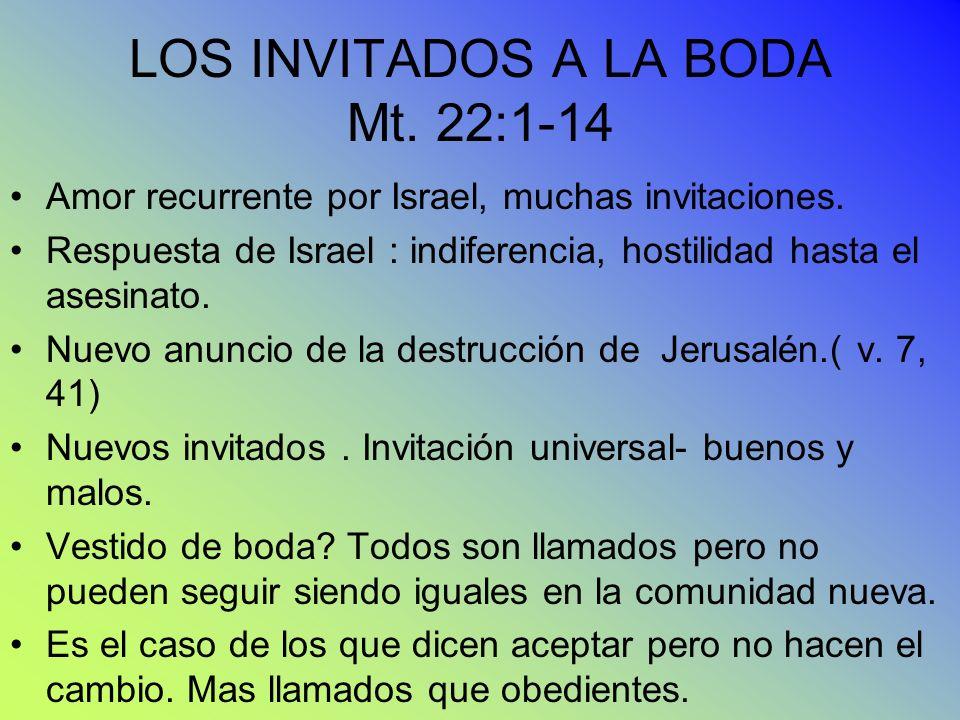 LOS INVITADOS A LA BODA Mt. 22:1-14