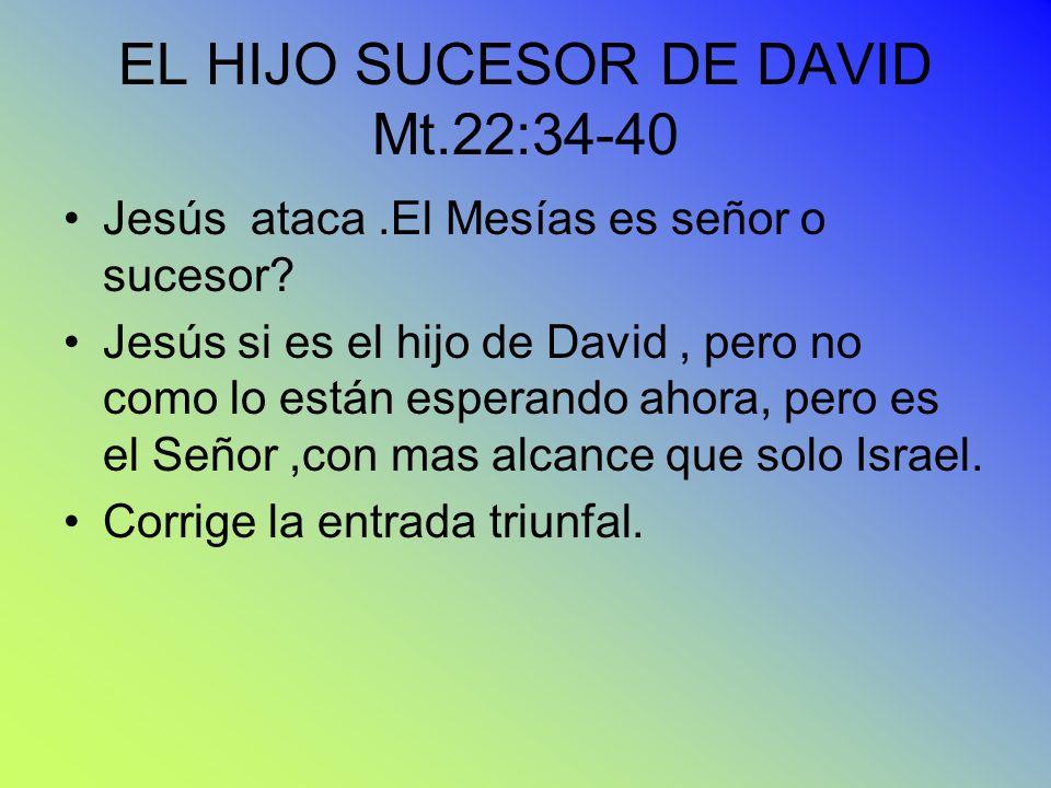 EL HIJO SUCESOR DE DAVID Mt.22:34-40