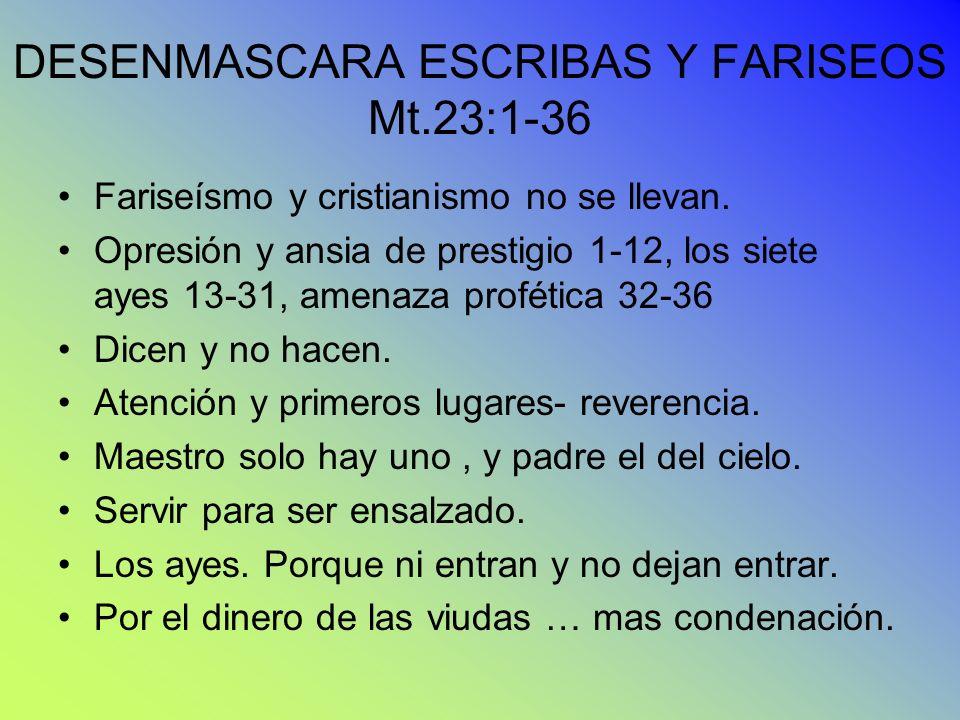 DESENMASCARA ESCRIBAS Y FARISEOS Mt.23:1-36