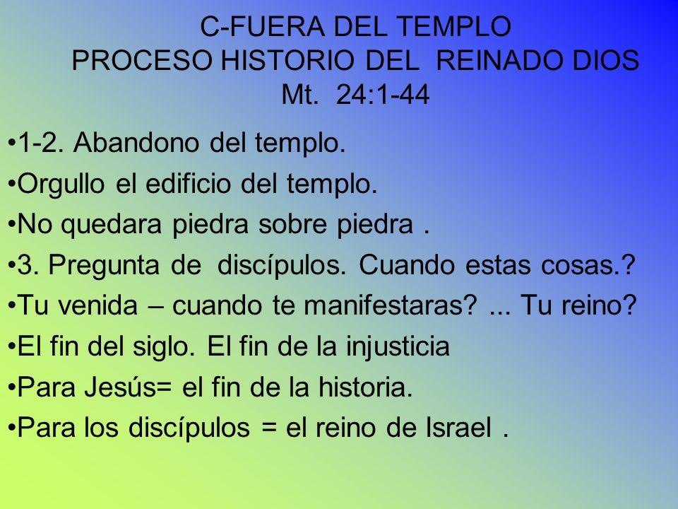 C-FUERA DEL TEMPLO PROCESO HISTORIO DEL REINADO DIOS Mt. 24:1-44