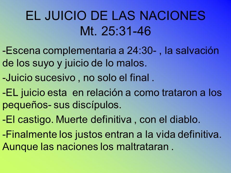 EL JUICIO DE LAS NACIONES Mt. 25:31-46