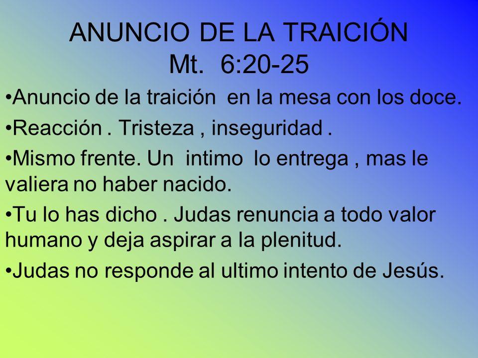 ANUNCIO DE LA TRAICIÓN Mt. 6:20-25