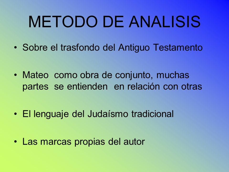 METODO DE ANALISIS Sobre el trasfondo del Antiguo Testamento