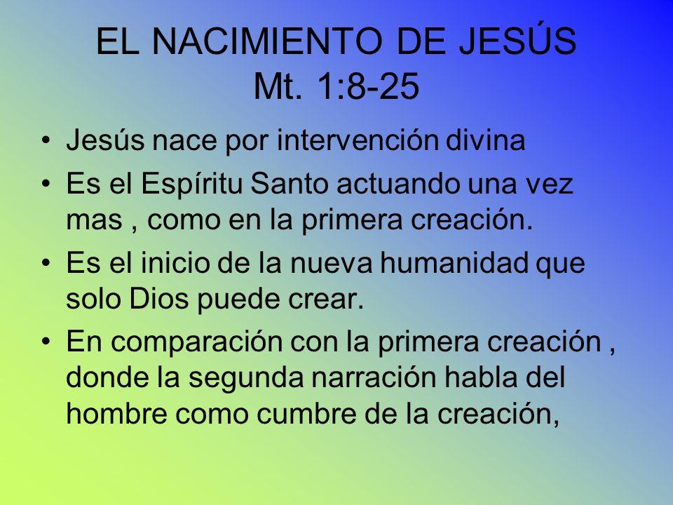 EL NACIMIENTO DE JESÚS Mt. 1:8-25
