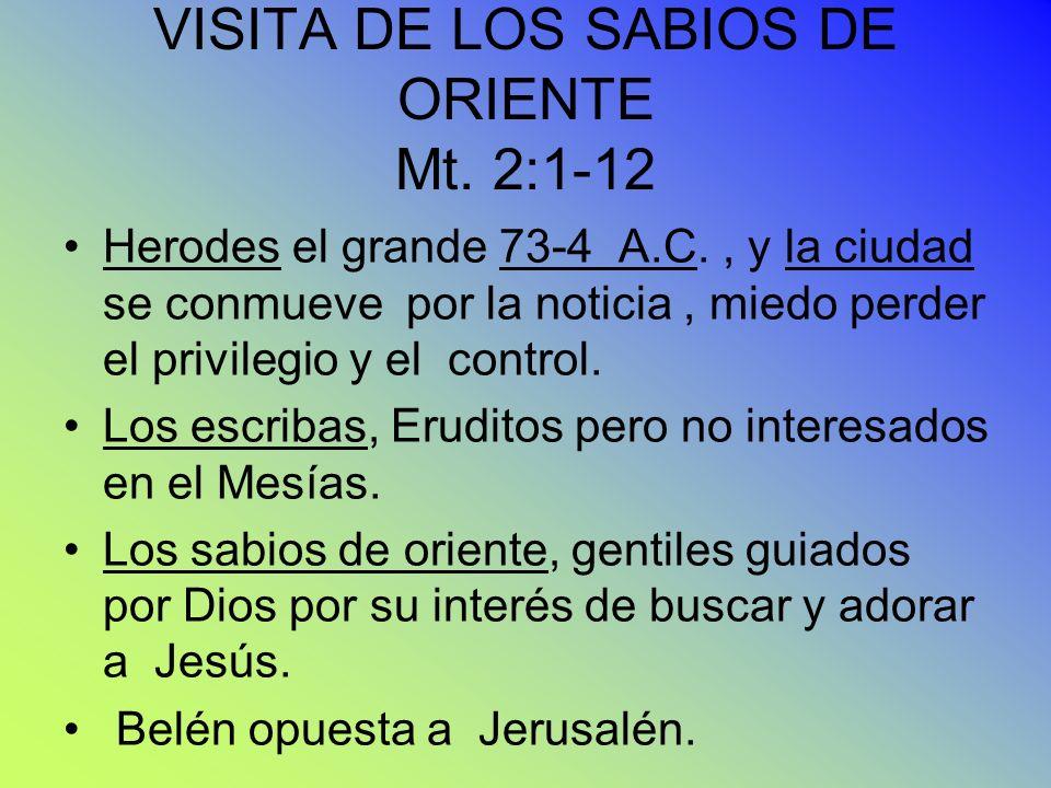 VISITA DE LOS SABIOS DE ORIENTE Mt. 2:1-12