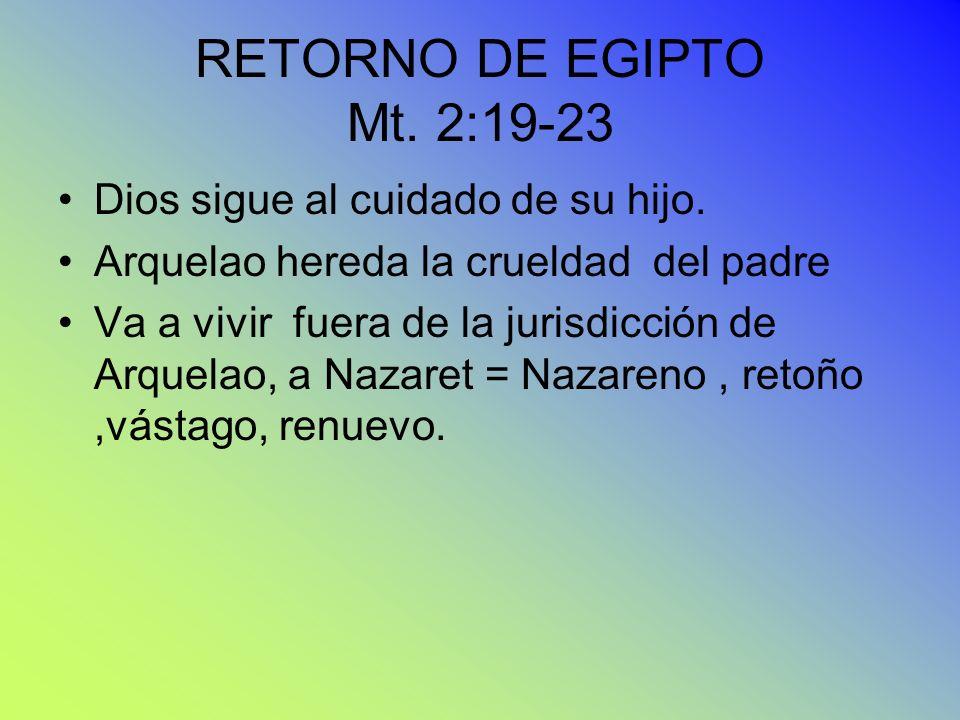 RETORNO DE EGIPTO Mt. 2:19-23 Dios sigue al cuidado de su hijo.