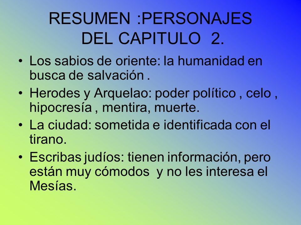RESUMEN :PERSONAJES DEL CAPITULO 2.