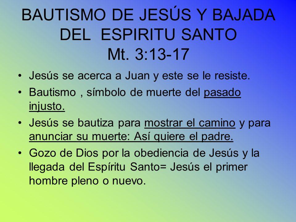 BAUTISMO DE JESÚS Y BAJADA DEL ESPIRITU SANTO Mt. 3:13-17