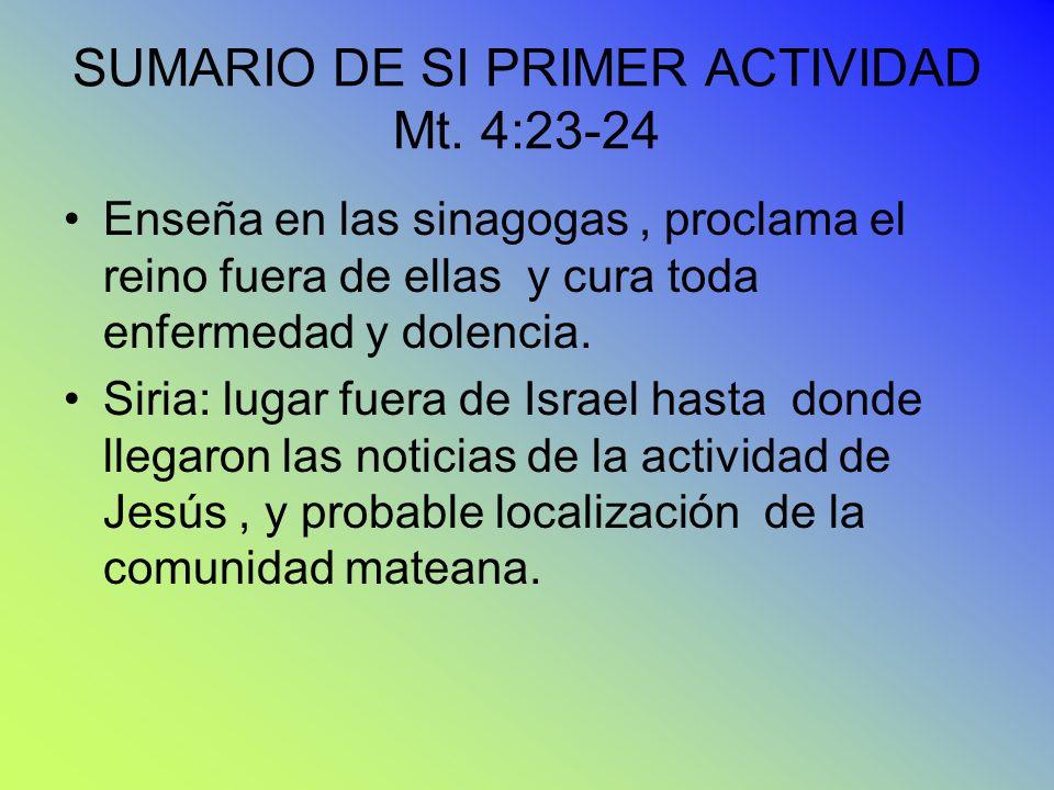 SUMARIO DE SI PRIMER ACTIVIDAD Mt. 4:23-24